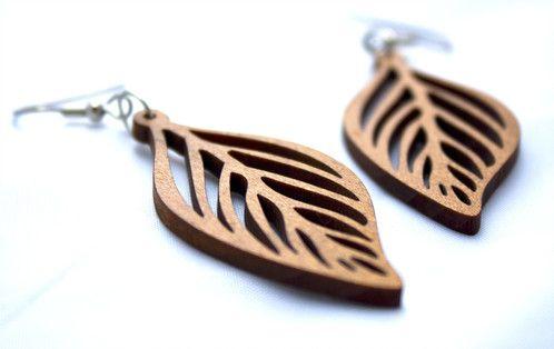 Cellular leaf earrings made from recycled cedar venetian blinds! - $35