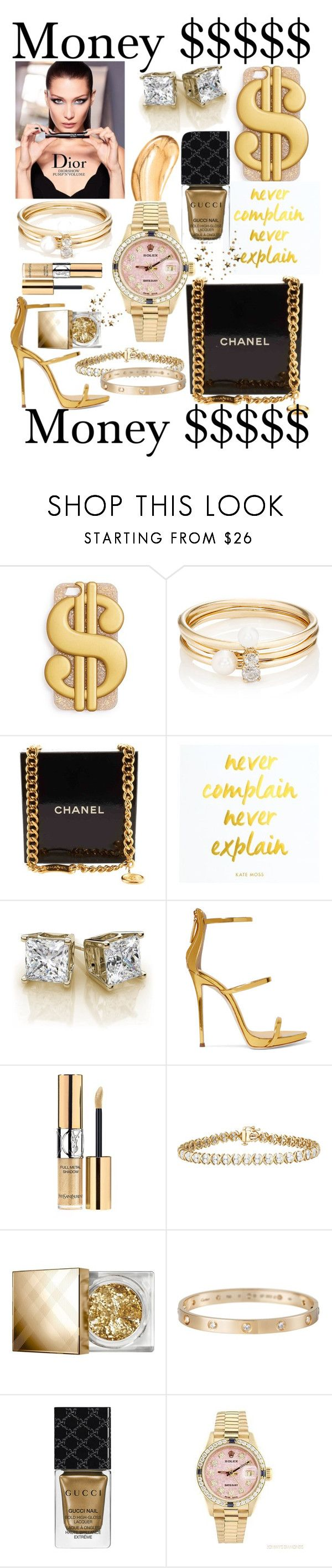"""""""Money $$$$$"""" by mandimwpink ❤ liked on Polyvore featuring ban.do, Loren Stewart, Chanel, Giuseppe Zanotti, Yves Saint Laurent, Burberry, Cartier, Gucci, Rolex and Tom Ford"""
