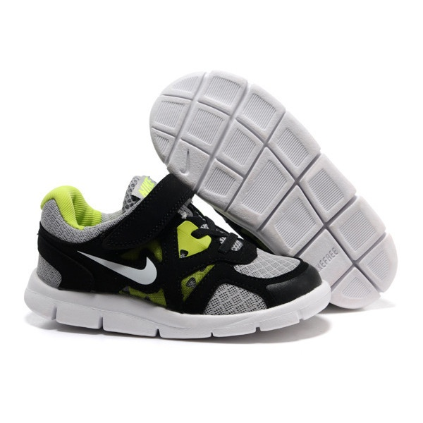 Nike Lunarglide Kids Cool Grey Black Lime Green [Cheap Shoes 4898] -.