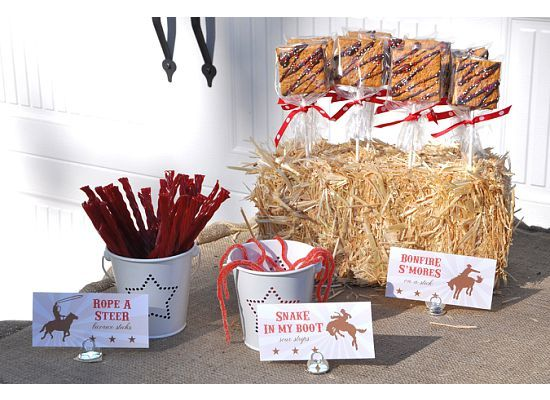 """Cowboy Treats include """"Steer Rope"""" Licorice Sticks, """"Snake In My Boot"""" Gummy Straws & """"Bonfire S'mores"""" on a Stick!"""