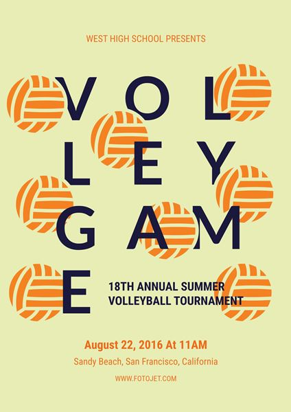 volleyball tournament sport poster design template flyer