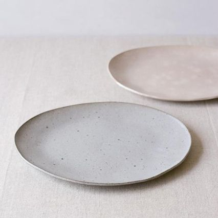 hand made ceramic plates- white and grey