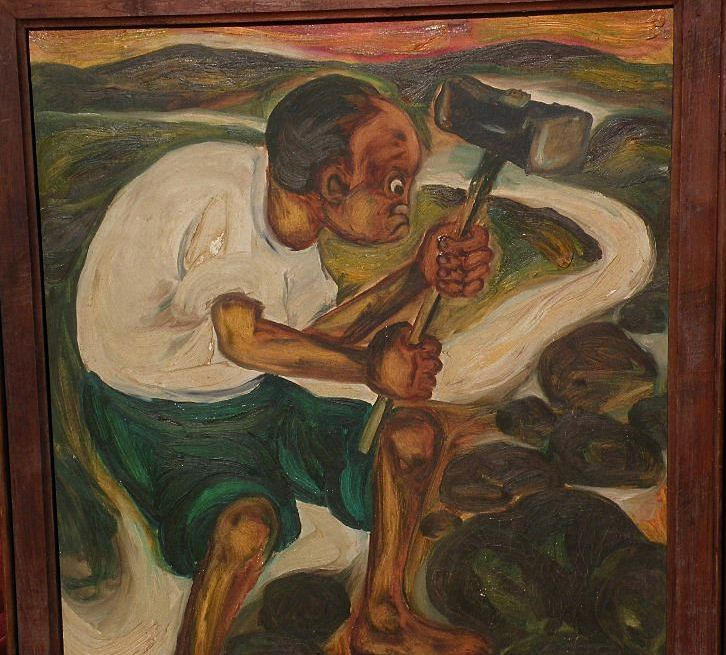DJOKO PEKIK (1938-) Indonesian art large painting by well listed artist  - found at www.rubylane.com