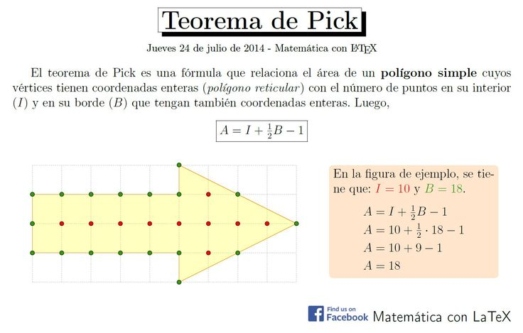 Pick's Theorem. http://www.facebook.com/matematicaconlatex