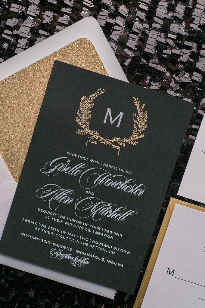 GISELLE Suite Glitter Package. Black White GoldBlack TieFoil StampingLetterpress  Wedding InvitationsPaper ...
