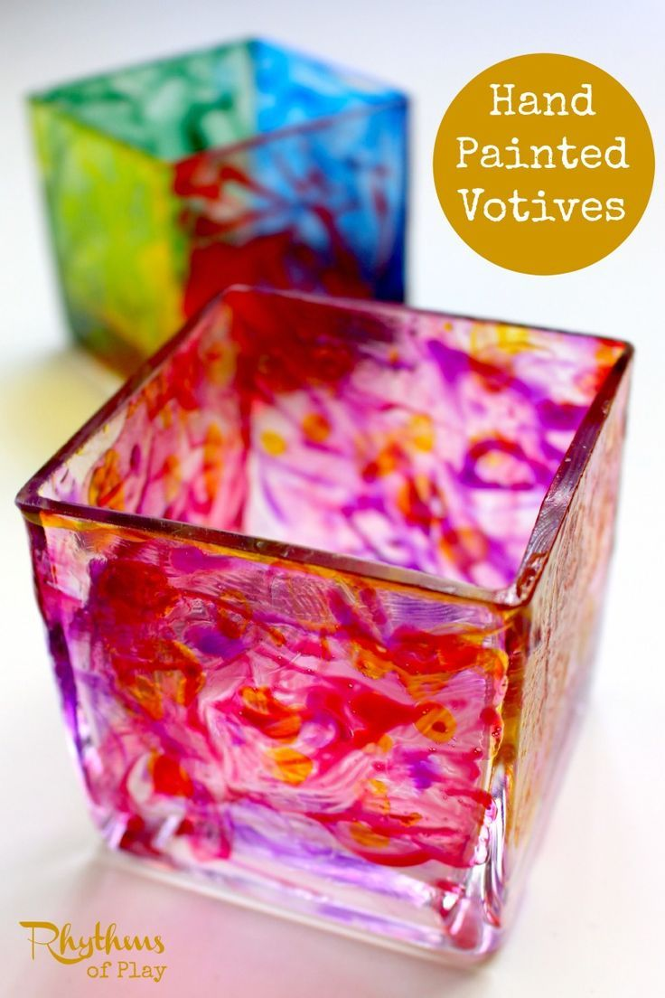 Easy spring crafts for seniors - Diy Hand Painted Votives Gift Idea