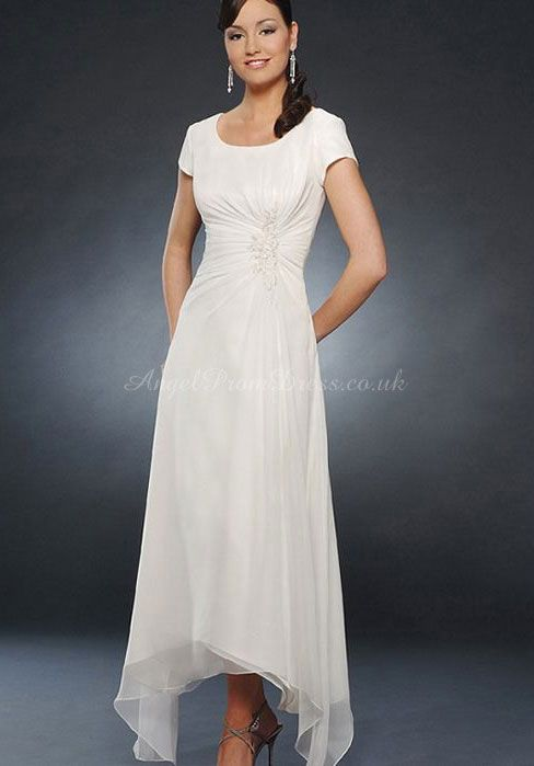 Ankle Length A-Line Scoop Chiffon Mother Of The Bride Dress With Ruching & Applique #mother #bride #dress
