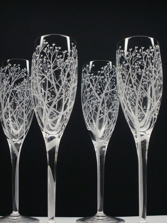 Hand engraved champagne flutes