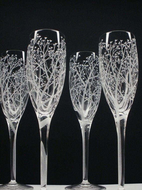 Tree Of Love 4 Champagne Glasses Hand Engraved por daydreemdesigns