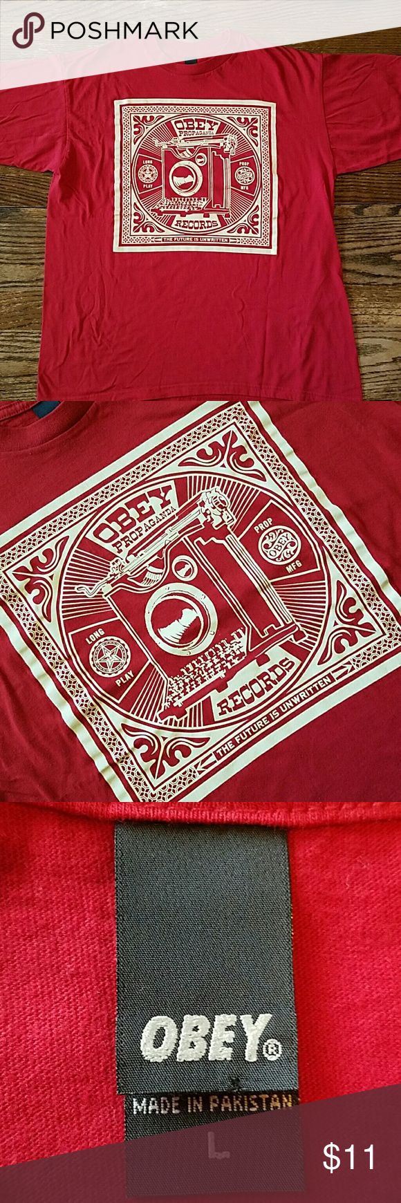 The Future Is Unwritten Red short sleeved cotton tee with typewriter graphics. Obey Shirts Tees - Short Sleeve