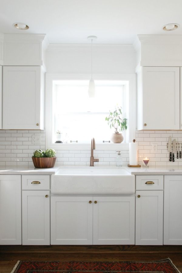 Want: wide, open sink with no divider (but not necessarily a farm sink), white subway tile backsplash, marble-look counters.