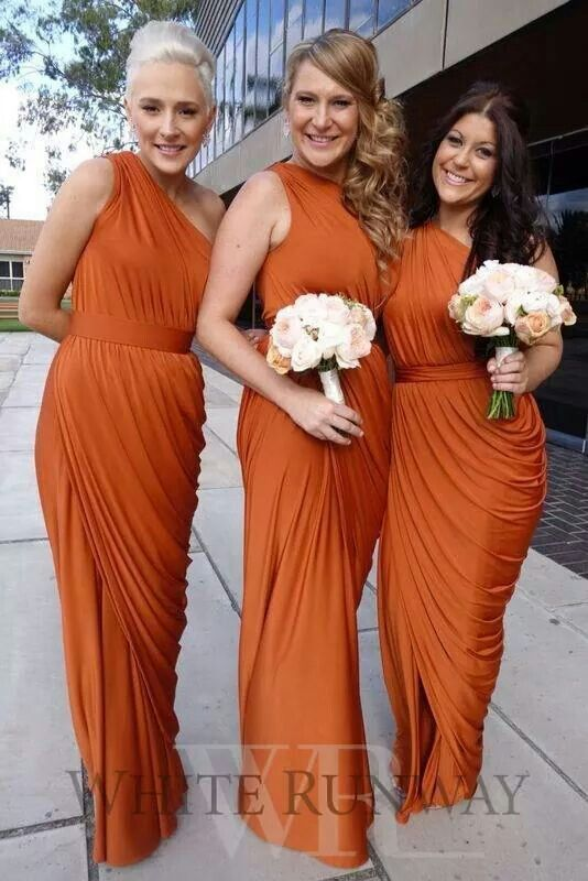 Beautiful burnt orange Bridesmaids dresses #wedding #mybigday Fall Wedding, Autumn colours, jewel tones, Red, Burgundy, Wine Red, Forest Green, Royal Blue, Metals, Burnt Orange, Tangerine, Pumpkin, Rich tones
