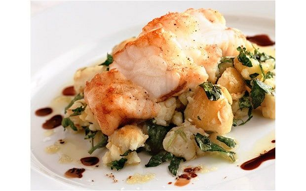 Rick Stein's roasted monkfish with crushed potatoes, olive oil and watercress recipe