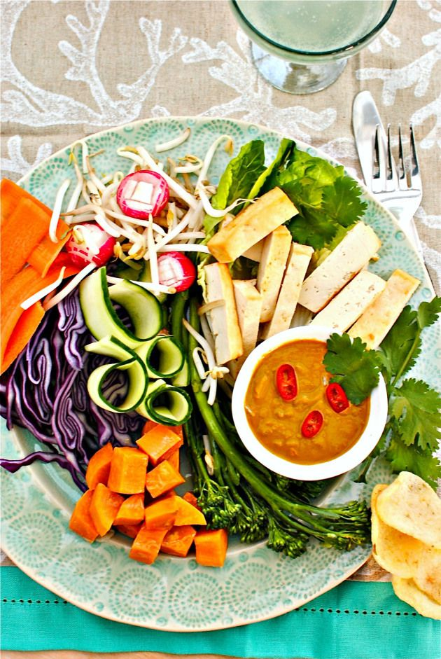 Tea-smoked Tofu Gado-Gado (Indonesian Peanut Sauce Vegetable Salad)