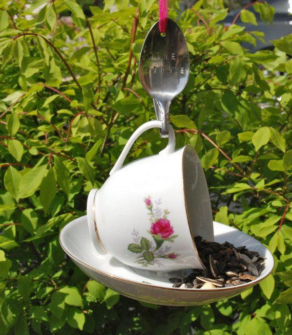 Tea Cup Bird Feeder with Hand Stamped Bent Spoon by aandkaccents