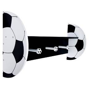 Your little sport will get a kick out of this Trend Lab Soccer Wall Shelf. Made of sturdy wood composite, this shelf has soccer ball-shaped ends in eye-catching black and white. With a smooth, flat surface on top, it has a row of three peg-shaped hooks on the bottom for hanging jackets, pajamas, robes and bags. Part of Trend Lab's Soccer collection, this wall shelf coordinates with all kinds of bedding and accessories, fitting in nicely with any athlete's room.