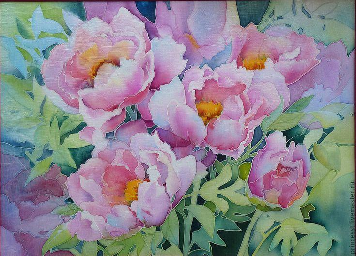 """Купить батик панно """"Розовые пионы"""" - Батик, холодный батик, картина батик, панно на шёлке"""