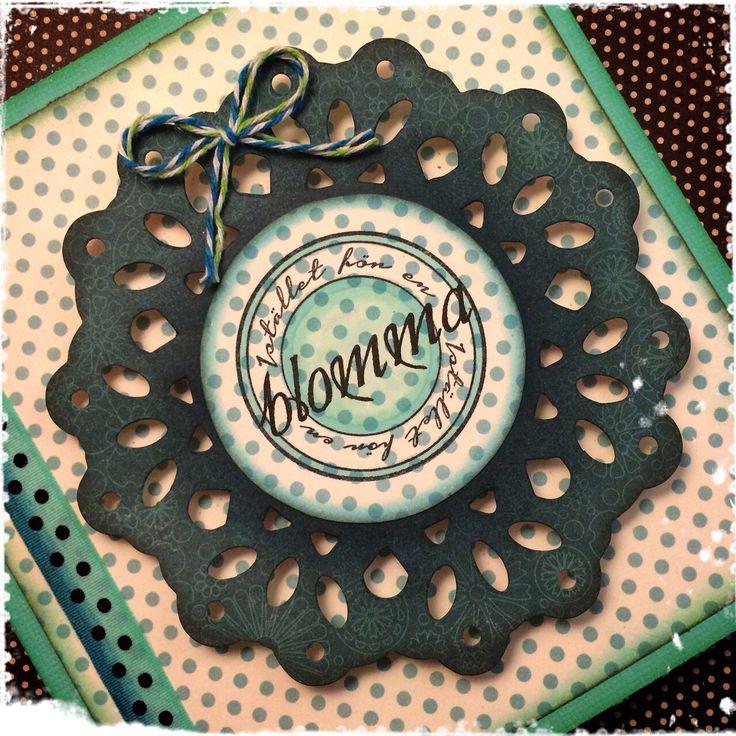 Kort med stämpel från Pysseldags http://blog.pysseldags.com/2014/12/istallet-for-en-blomma.html