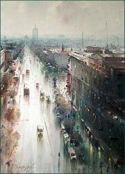 dusan-djukaric-rainy-day-on-terazije-watercolor-54x74-cm