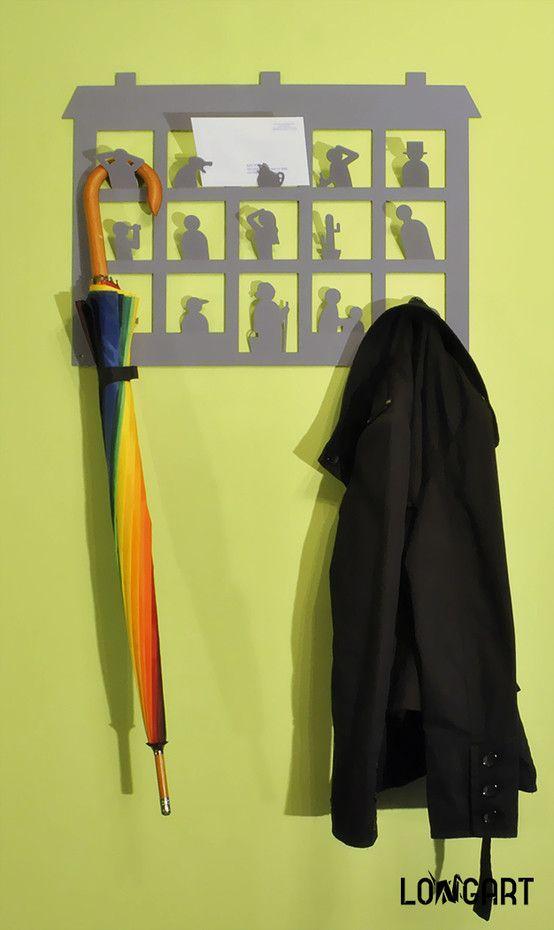 """Wieszak """"Sąsiedzi"""", wieszak na ubrania, wyposażenie przedpokoju, meble do przedpokoju. Zobacz więcej na: https://www.homify.pl/katalogi-inspiracji/30865/7-ciekawych-wieszakow-do-przedpokoju"""