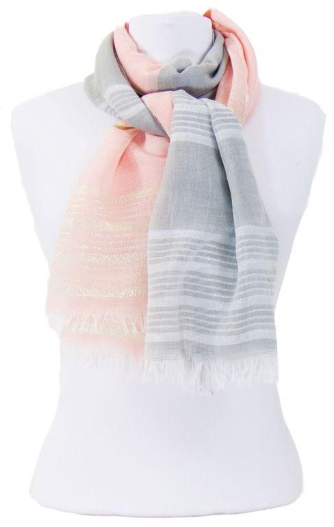 Foulard rose gris rayures lurex. Découvrez sur mesecharpes.com + de 150  foulards chic d3c5fce2303