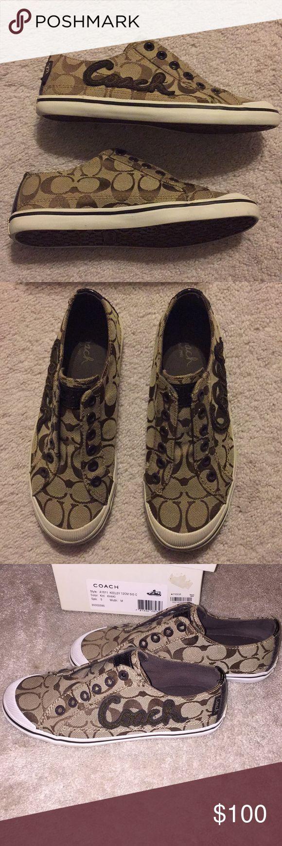 Coach sneaker slide on women's shoes brown, size 5 New in box, never worn! Coach sneaker slide on women's shoes brown, size 5 US Coach Shoes Sneakers