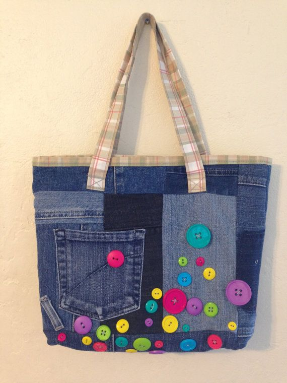 Happy Buttons Jeans Bag by AonDesigns on Etsy, $40.00