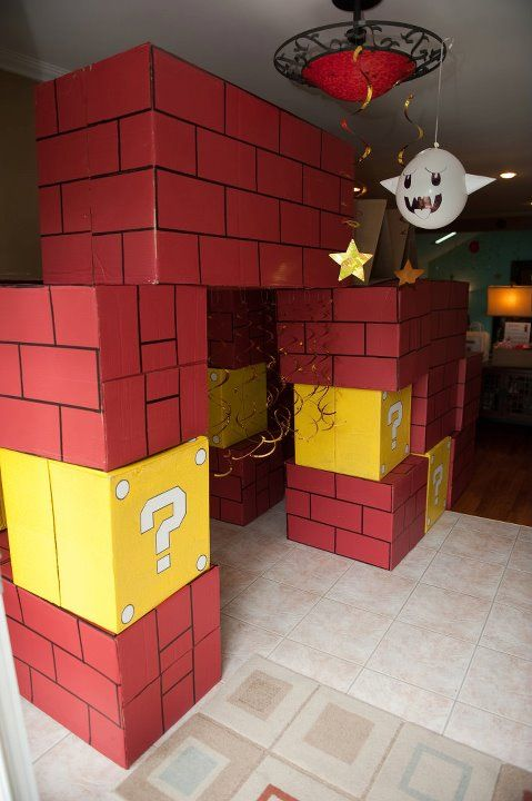 Brick and question boxes made from moving boxes!