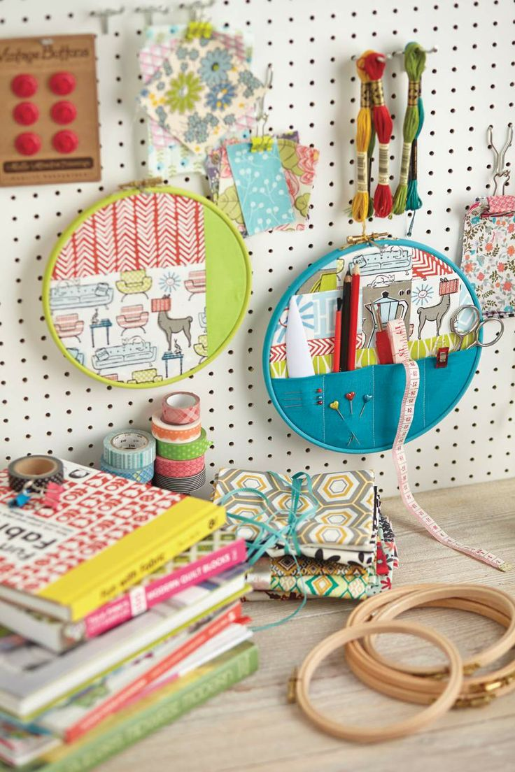 Super hoops for work and play! From issue 4 of Love Patchwork & Quilting. Photo © Love Patchwork & Quilting #pegboard #craftroom