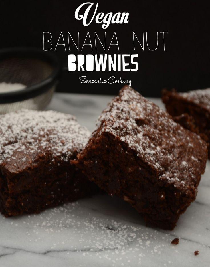 Vegan Banana Nut Brownies - sarcastic cooking
