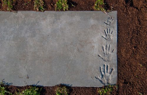 Concrete paver stone. Neat custom detail from the residents inside. (Build LLC, Seattle)
