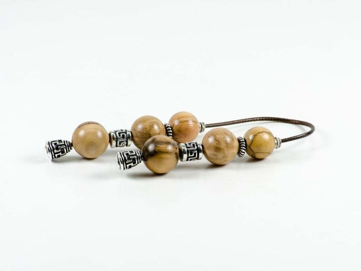 Olive Wood Greek Worry Beads Begleri 16x16mm Greek Meander