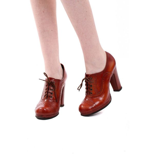 Vintage 70s Rust Lace Up Platform Spectator Shoes UK 3.5 ($62) ❤ liked on Polyvore featuring shoes, vintage footwear, vintage lace up shoes, lace up block heel shoes, vegan leather shoes and platform lace up shoes