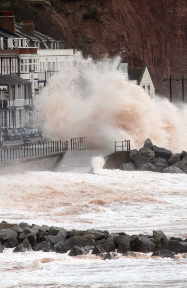 Sidmouth Devon, lashed by gales February 2014 (Sidmouth Herald)