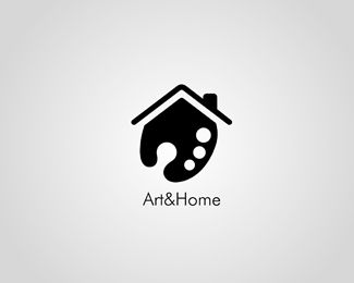 "I like this logo image because it is simple and unique. I like how the image uses a paint palette to create the structure of a house. It is a good play on the words ""Art&Home."" Also the black and white colors add to its simplicity. Clever logo"