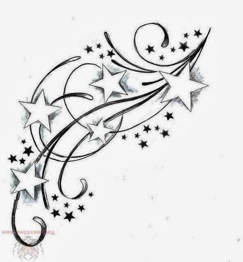 42 best Moon And Shooting Star Tattoos Templates images on