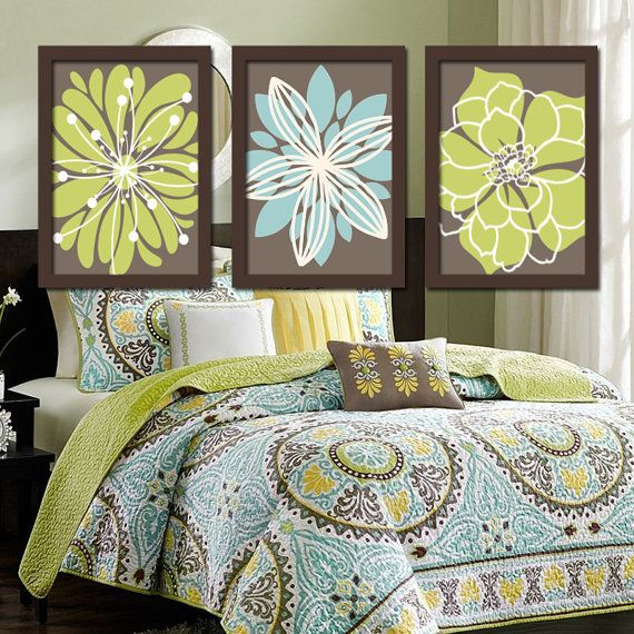 Brown Beige Green Aqua Blue Flower Burst Dahlia Floral ...
