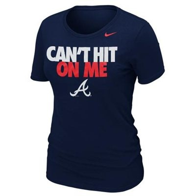 WANT Nike Atlanta Braves Ladies Cant Hit on Me Slim Fit T-Shirt - Navy Blue