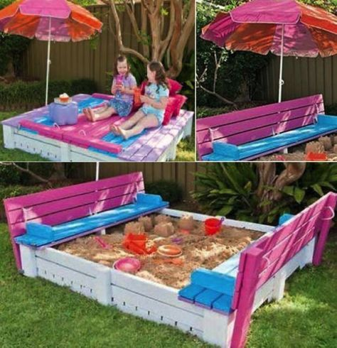diy sand box using wooden pallets find fun art projects to do at home and arts and crafts ideas a sandbox with a lid to keep the animals out