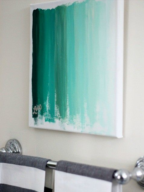 DIY ombre abstract art (one main color, adding a bit of white with each paint swipe) #howtoanddiy