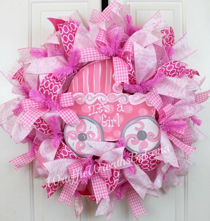 Baby Girl Wreath, Baby Shower Wreath, Baby Carriage Wreath, Baby Reveal Wreath, Baby Hospital Wreath by WruffleWreathsbyLana on Etsy