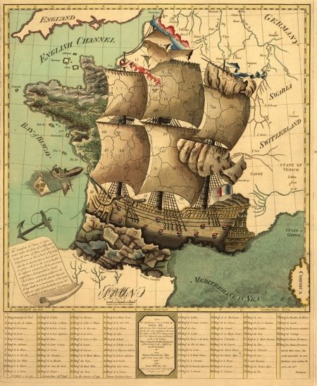 Dating from around 1795, produced in London, this map  depicts France, by that time still a very young republic (°1789), as the proverbial ship of state.