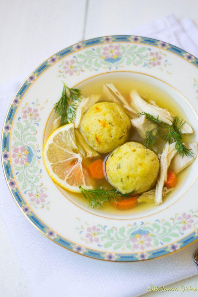 Lemon Saffron Matzo Ball Soup via LittleFerraroKitchen.com