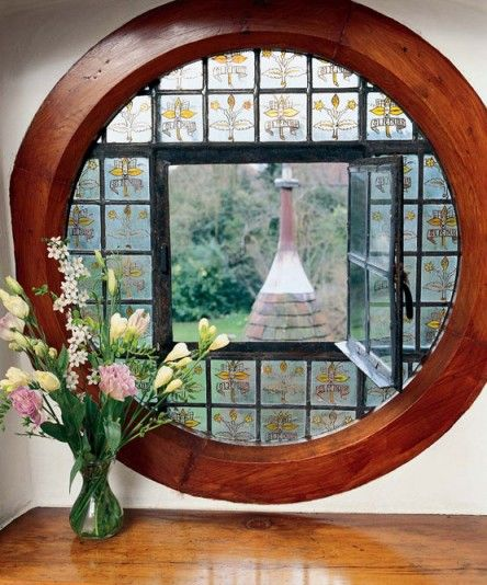 A casement in a bull's-eye window at Red House in Bexleyheath, England, the only house William Morris ever built.