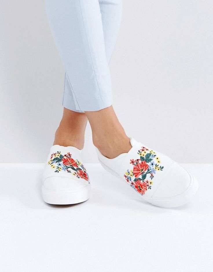 New Look Embroidered Slip On Sneaker - White