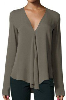 Solid Color Pleated V-Neck Long Sleeve Blouse