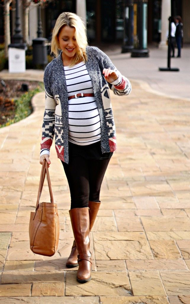 Maternity stripes and cozy sweater.