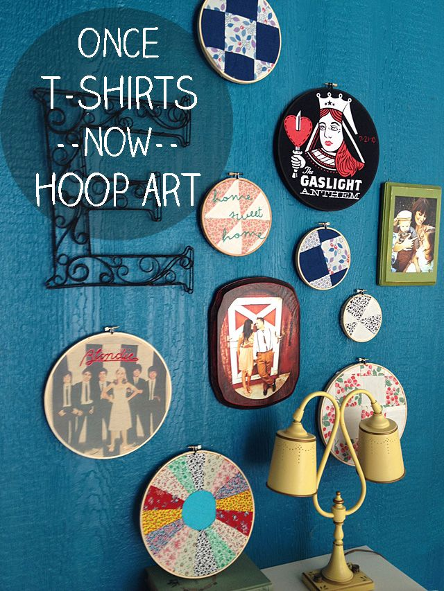 Take the Cannoli: t-shirt Hoop Art DIY. Maybe use my favorite outfits the baby outgrows in his room?