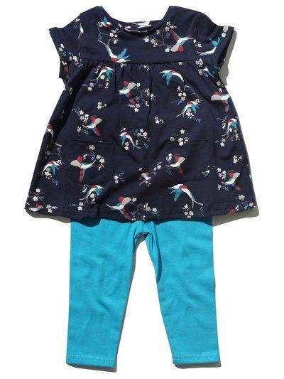 Bird print top and leggings set