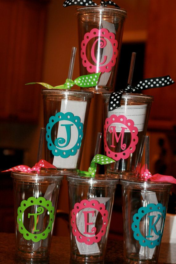 Super cute acrylic cups with straw! This is the THE cup to have that everyone will ask where you got it! Looking for something different to buy that someone who has EVERYTHING?? You have found it!   Cup holds 16oz and comes with acrylic lid and clear hard plastic straw and is insulated! Perfect for hot or cold beverages. Gentle hand washing is recommend. Personalize the acrylic tumbler any way you choose! See font and color options to spark your creativity! Personalization is done with vinyl…